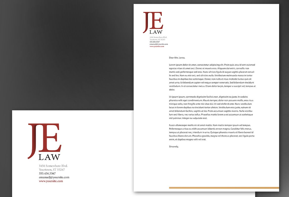 Letterhead template for Attorney Law Firm. Order Custom Letterhead