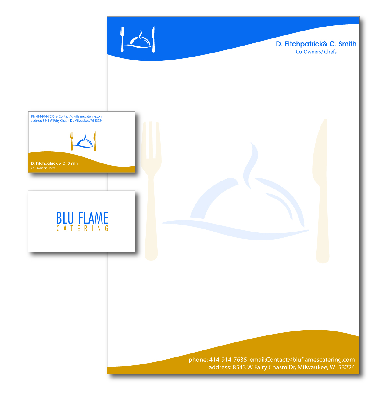 Professional, Masculine Letterhead Design for Blu Flame Catering