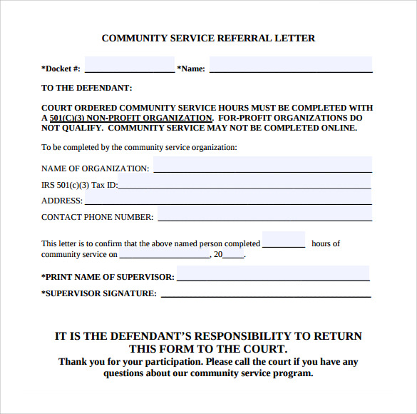 Free Sample Letter For Community Service Hours