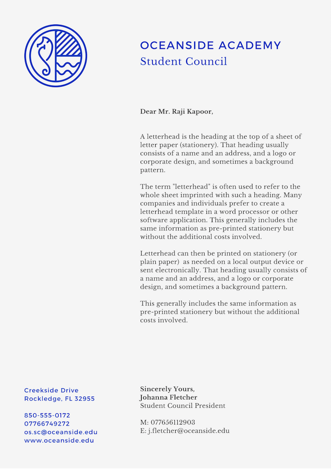 Create Your Own Letterhead Free Printable Letterhead