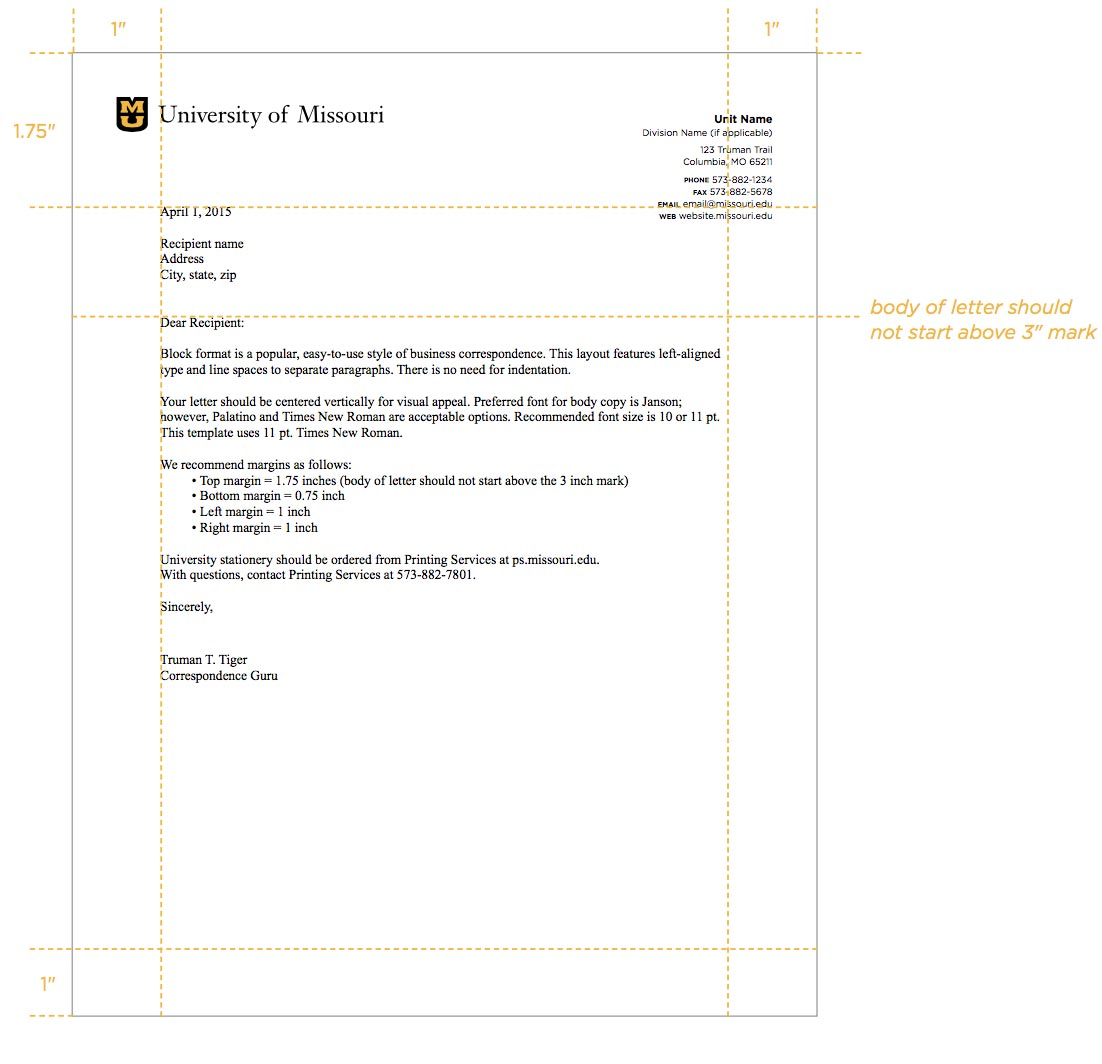5.3 Letterhead | Mizzou Identity Standards | University of Missouri