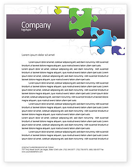 Fancy Jigsaw Letterhead Template, Layout for Microsoft Word, Adobe