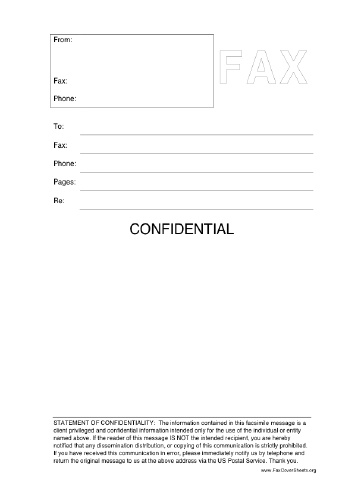 Fax Cover Sheet Confidential