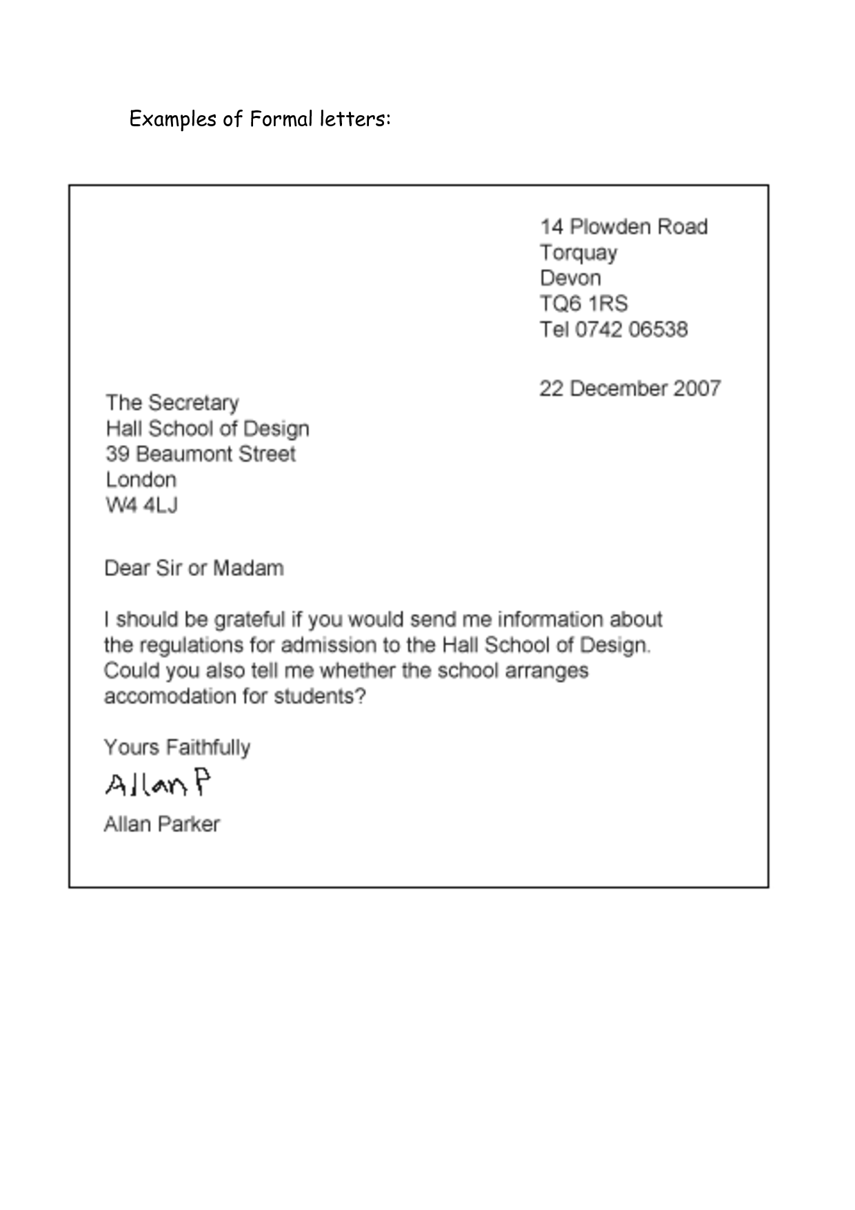Formal Letter Sample Format | formal letter template