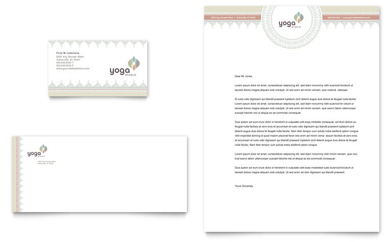 Pilates & Yoga Business Card & Letterhead Template Word & Publisher