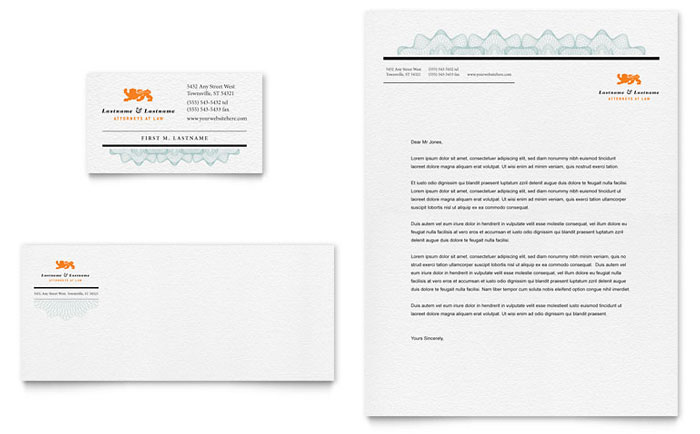 Lawyer & Law Firm Business Card & Letterhead Template Word