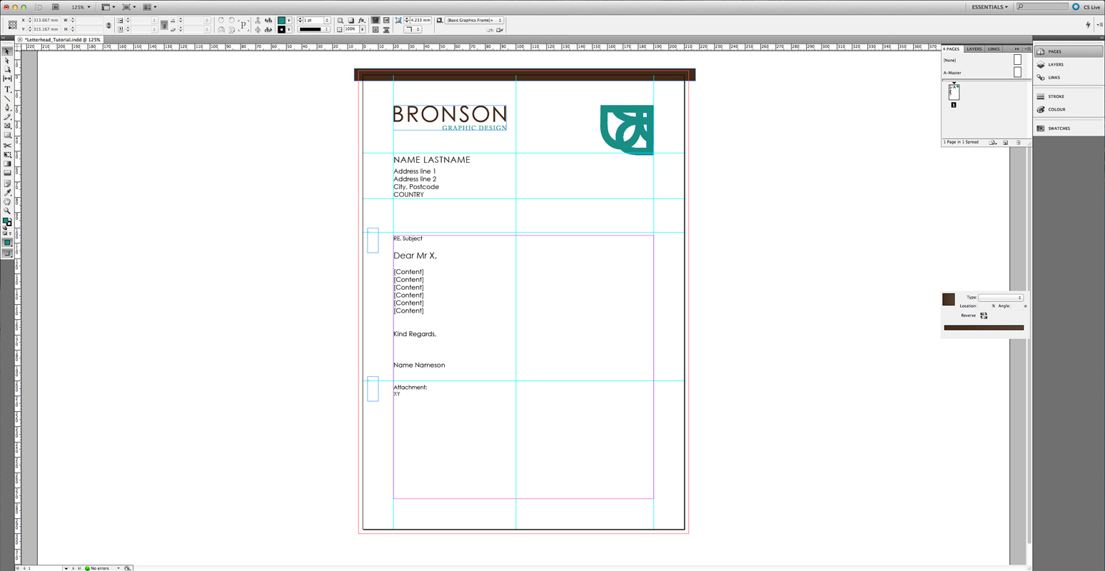 Letterhead Layouts, Arrangements of Identity Materials