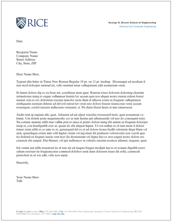 Letterhead: Schools and Departments : Rice University