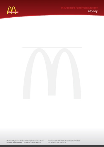 Mcdonalds Letterhead Templates in Microsoft Word, Adobe