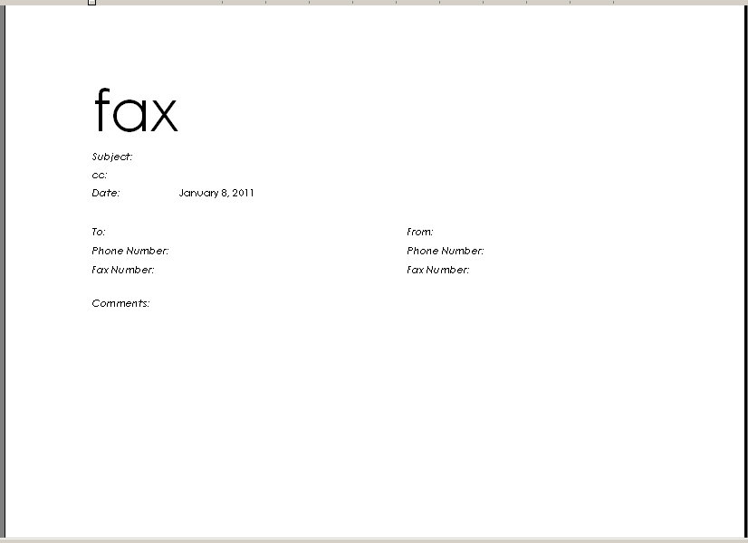 microsoft fax cover sheet