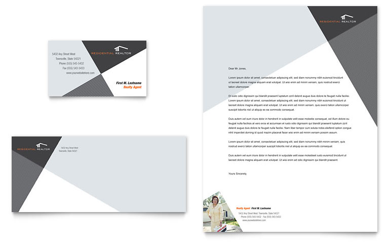 Contemporary & Modern Real Estate Business Card & Letterhead
