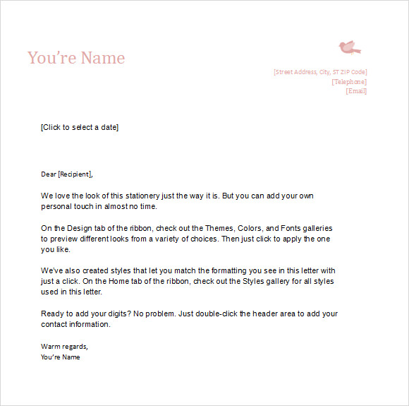 Personal Letter Templates Word  Free Business Letterhead Templates Word