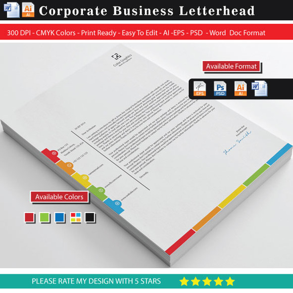 Check out Unique Color Graphics Letterhead by shujaktk on Creative