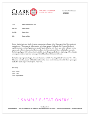Electonic and Print Stationery Templates | University Marketing