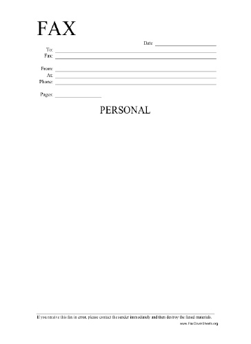 Personal Fax Cover Sheet Free Printable Letterhead