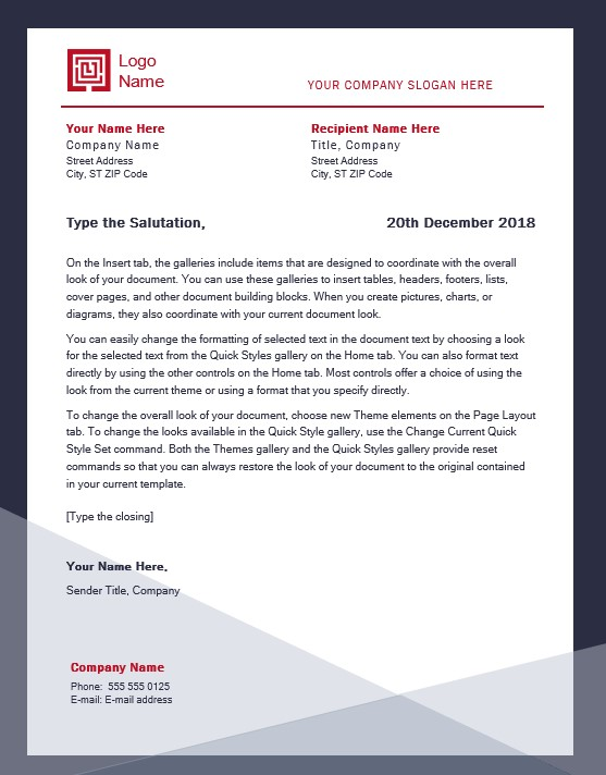Company Letterhead Template Word Free