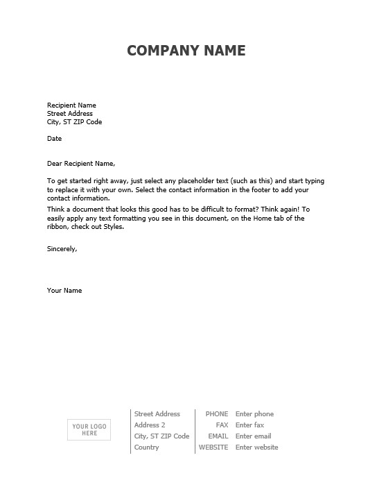 Letterhead Sample Text